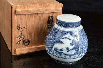 A4624: Japanese Kiyomizu-ware Blue&White TEA CADDY Chaire Container w/signed box