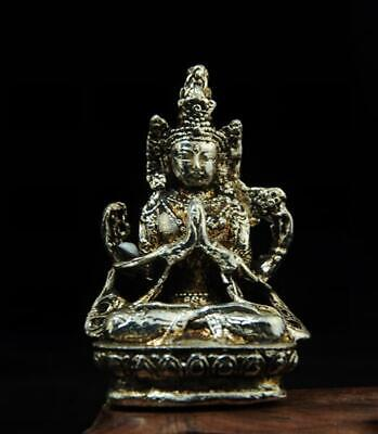 chinese old handmade cooper-plating silver guanyin statue a01