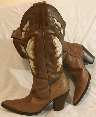 Bronx Light Brown Mid Calf Leather Lovely Boots Size 40 (734QQ)