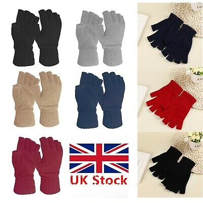 UK Womens Super Soft Warm Gloves  Ladies Fine Knit Fingerless Winter 3 Colours