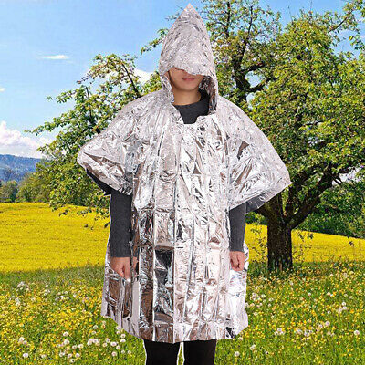 Outdoor Reflective Emergency Blanket Warm Raincoat First Aid Rescue Survival Kit