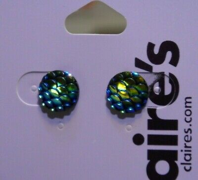 Claires Girls Stud Earrings Mermaid Scale Fish Iridescent New