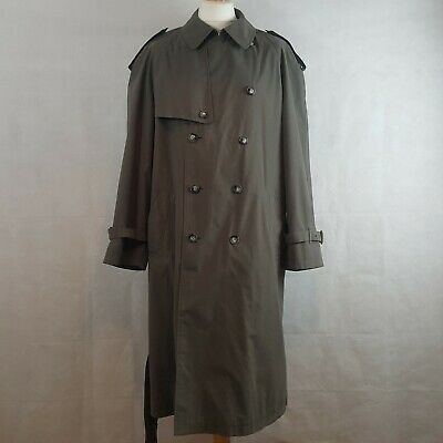 M&S St Michael Mens Trench Coat Mac Gunmetal L Cotton Blend Belted Check Lining