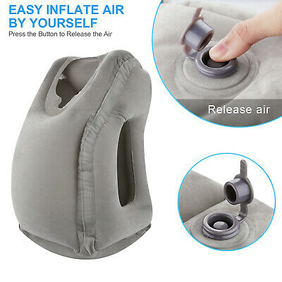 Inflatable Air Travel Pillow Airplane Office Nap Rest Neck Head Chin Cushion