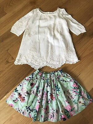 Girl's 2-3 Years Bundle: Zara White Blouse & NEXT Floral Skirt