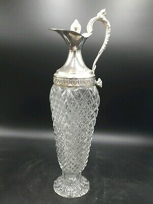 Glass Decanter with Silver Plated Handle and separate stopper