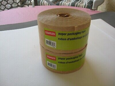 Lot 2 Staples 2.8`` /125 Yds paper packaging tape # 468231 New