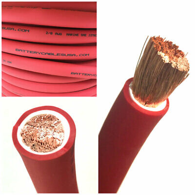2/0 AWG 00 Gauge Battery Cable Red By the Foot OFC Copper Power Wire Made in USA