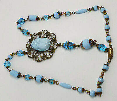 Vintage Art Deco Egyptian Revival Style Blue Czech Glass Bead Scarab Necklace