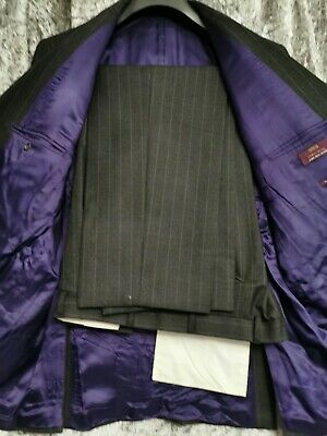 """M&S suit grey widepinstripe 48 chest, trousers 38/29"""""""