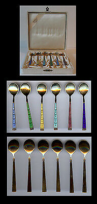 Hestenes Norway Vintage Sterling Silver Multi Color Enamel Spoons Set In Box