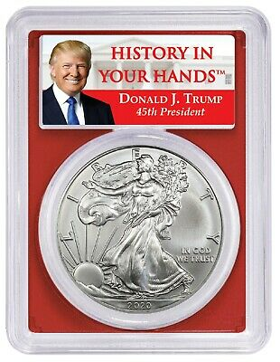 2020 1oz Silver Eagle PCGS MS70 - First Day Donald Trump Label