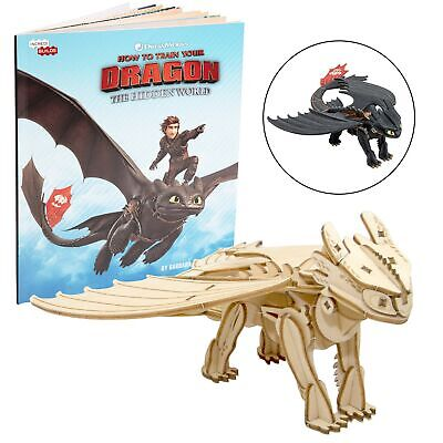 DreamWorks How to Train Your Dragon: Hidden World Toothless Book and 3D Wood ...