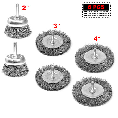 "Toolman 2x 2""x1/4"" 1-1/8"" Crimped Steel Wire Cup Brush +2x 3"" +2x 4"" Wire Wheel"