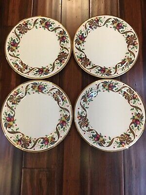 """Lenox Holiday Tartan Set Of 4 Dinner Plate Gold Rim 10.75"""" , New With Tags"""