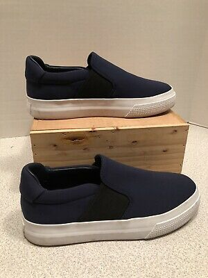 VINCE Warren Women/'s Platform Slip On Sneakers Shoes Satin Deep Blue NIB.