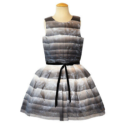 Catimini Girls Dress Size 10 New Gray Ombre Party Beautiful