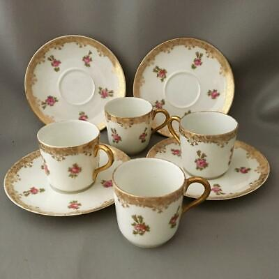 Antique Limoges Gold & Hand Painted Pink Roses Flower Demitasse Cup & Saucer Set