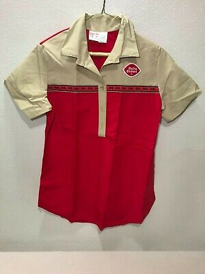 Vintage Old Stock Dairy Queen Uniform Shirt Red & Tan Size 14