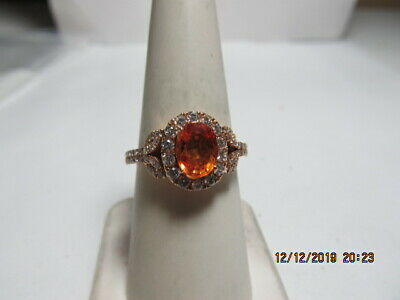 Lovely 14K Solid Rose Gold Ring W/ Orange Nat'l Sapphire And Halo Of Diamonds
