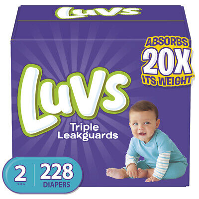 Luvs Triple Leakguards Diapers Size 2, 228 Count, New