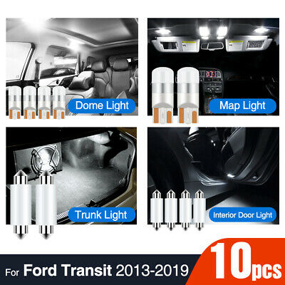 10x Interior Lights For TRANSIT For Tourneo 2013-2019 White Canbus LED Bulbs Kit Dome Roof Map Lamps Load Cabin Boot Light 12V 2013 2014 2015 2016 2017 2018 2019