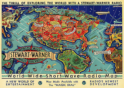 Early World Wide Shortwave Radio Map Ham Gift Amateur Enthusiasts Wall Poster