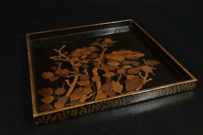 A3712: Japanese Flower gold lacquer pattern WOODEN TRAY/Ornamental plate