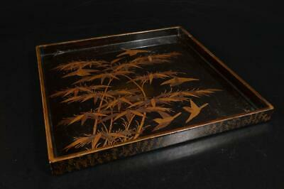 A3709: Japanese WOODEN TRAY/Ornamental plate Bamboo Bird gold lacquer pattern