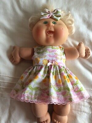 "DOLLS CLOTHES TO FIT 14"" CABBAGE PATCH DOLL -  Dress, Hair Bow - Sunflowers"