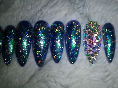 Green chameleon Bling press on nails - stiletto- holographic Christmas xmas set