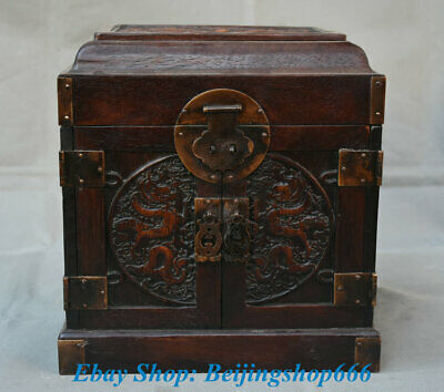 "10"" Old Chinese Huanghuali Wood Carving Dragon Cupboard Cabinet Drawer Boxs"