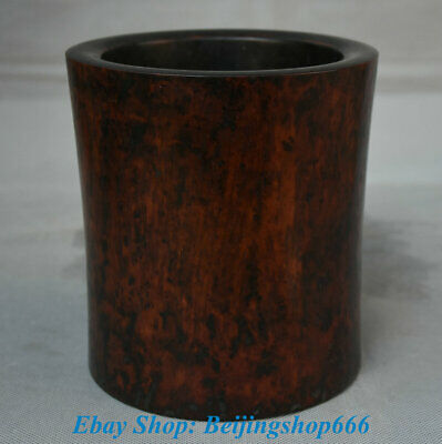 "6"" Old Chinese dynasty Palace Huanghuali Wood Carving Brush Pot Pencil Vase"