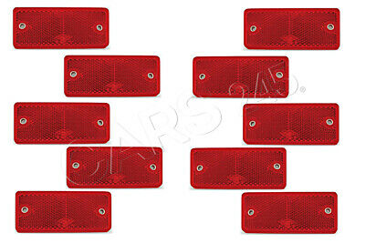 X10 Pcs Red Rectangular Reflector 94x44 mm with Adhesive Tape Mounting Holes