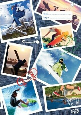 NEW Spencil Sports Collage IV Sport Skateboard Scooter Surf A4 School Book Cover