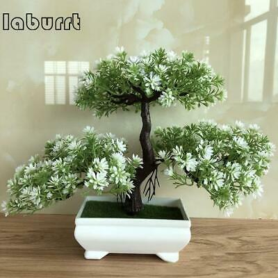 Artificial Bonsai Tree Greeting Plant Fake Green Plants Flower Home Desk Decor