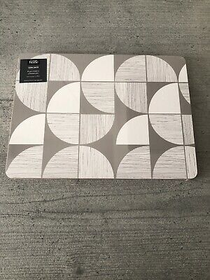 George Home Set Of 4 Placemats - Geometric - White & Grey - Brand New