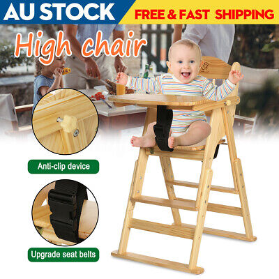 Tray + Adjustable Portable Wooden Baby High Chair Toddlers Feeding Seat Supplies