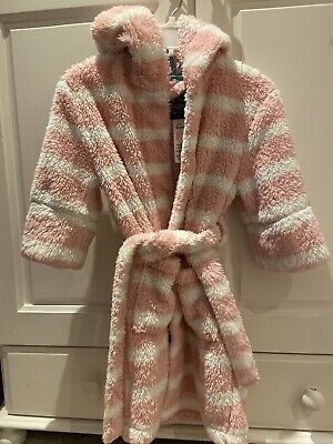 MINI-BODEN GIRLS PINK AND WHITE STRIPED DRESSING GOWN. AGE 3-4yrs