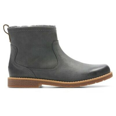 Clarks Girls Comet Frost Inf Grey Leather Boots UK Size 11.5 G
