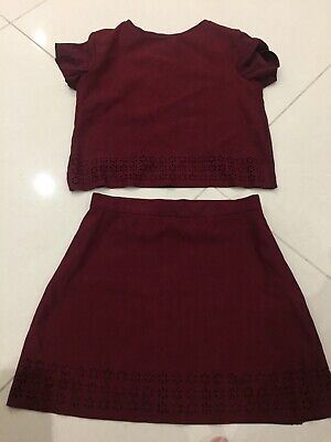 river island 2 piece skirt and top girls age 9/10 years burgundy colour soft