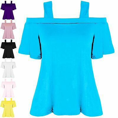 Womens Girls Strappy Off Shoulder Short Sleeve Bardot Ladies Swing Flared Top