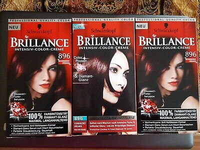 3x Haarfarbe Schwarzkopf Intensiv Color Creme Brillance 896