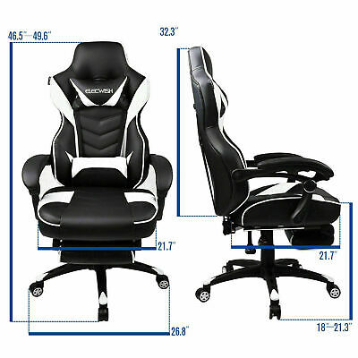 NEW Video Computer Gaming Chair w/ Foldable Footrest High Back Swivel PU Leather