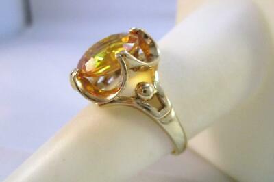 Vintage 10K Solid Yellow Gold 4.0ct Yellow Sapphire Cocktail Ring   5.2G  Size 7