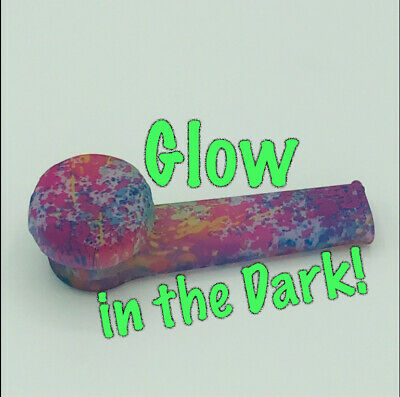 Silicone Smoking Pipe with Glass Bowl & Cap Lid | Glow-n-dark color splatter