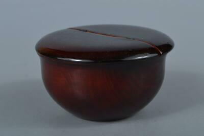 M384: Japan Wooden Hida Shunkei lacquer ware TEA CADDY Natsume Chaire Container