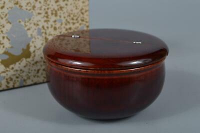 M1858: Japanese Wooden Lacquer ware Shapely TEA CADDY Chaire Container Natsume