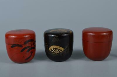 M1905: Japanese Wooden Plastics TEA CADDY Natsume Chaire Container 3pcs