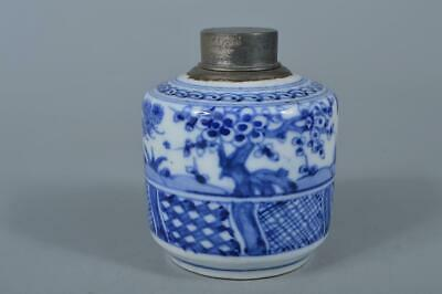 M1809: Japanese XF Old Kiyomizu-ware Tin Blue&White TEA CADDY Chaire Container